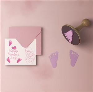 母亲节贺卡信封贴图样机