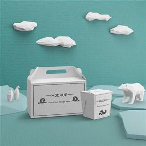 海洋生活概念紙盒打包盒貼圖樣機