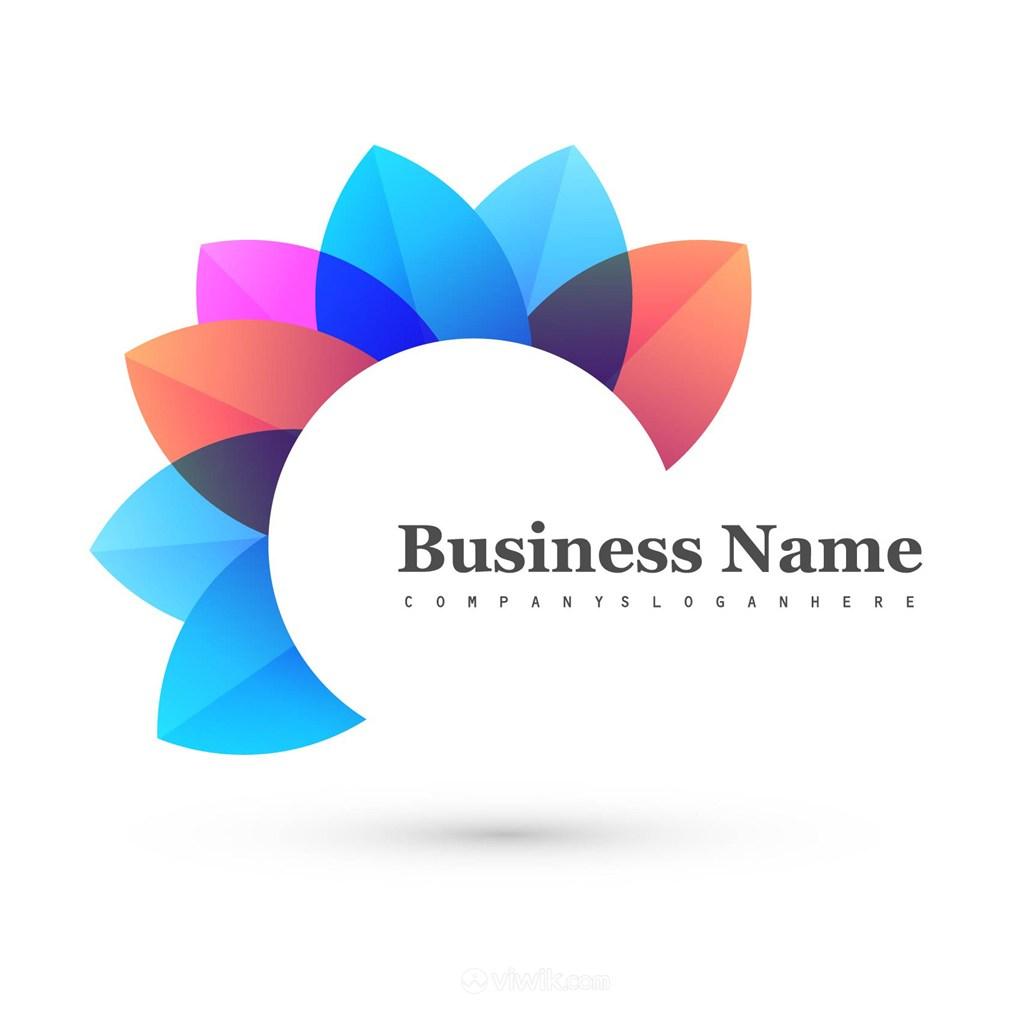 抽象多彩花型标志图标矢量logo