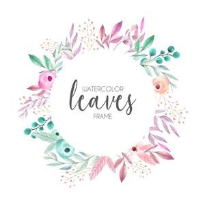 唯美淡雅粉色花朵树叶花边边框邀请函模板