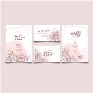 淡粉色线描花卉婚礼邀请函背景底纹模板
