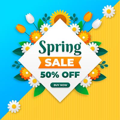 春季促銷鮮花花朵背景矢量圖