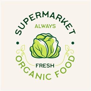 白菜图标有机食品超市矢量logo