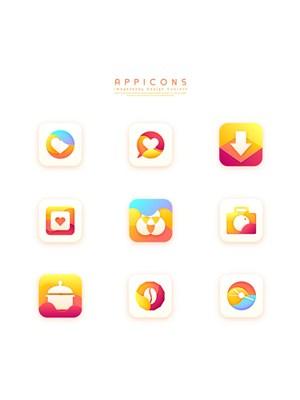 橙色漸變創意簡潔質感立體手機端APP應用圖標設計素材