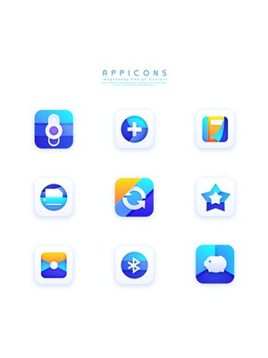 漸變藍創意簡潔質感立體手機端APP應用圖標設計素材