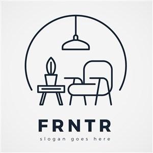 極簡家具品牌矢量logo設計
