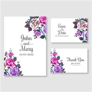 粉紫玫瑰花邀请函背景底纹模板