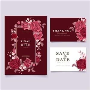 红色玫瑰花邀请函名片背景底纹模板