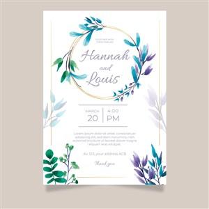唯美淡蓝花纹树叶婚礼邀请函背景底纹矢量模板