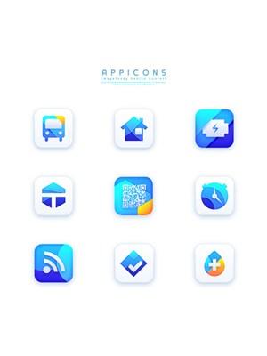 藍色創意扁平清新手機APP應用圖標UI設計素材