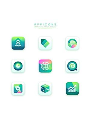 綠色漸變創意簡潔清新手機APP應用圖標UI設計素材