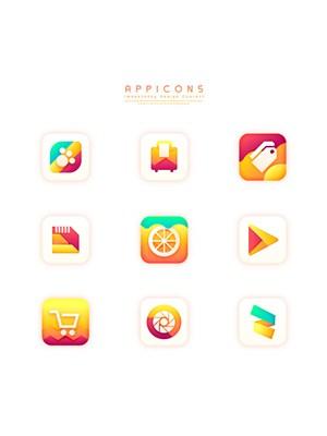 黃色漸變創意質感立體手機APP應用圖標設計素材