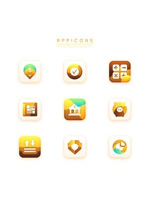 黃色漸變創意質感立體手機APP應用圖標UI設計素材
