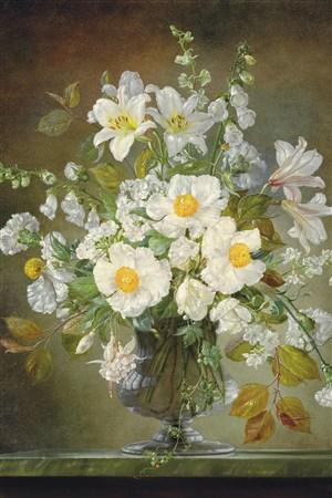 白色寫意花卉油畫作品圖片