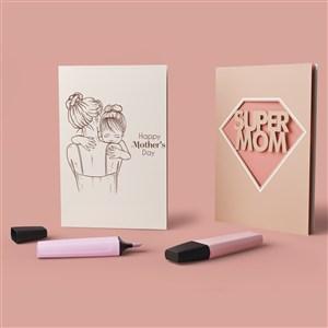 母亲节礼品贴图样机
