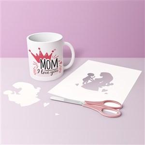 母亲节杯子剪纸贴图样机