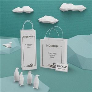 海洋生活概念纸袋手提袋贴图样机