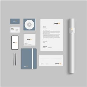 灰色简约企业办公用品vi样机模板