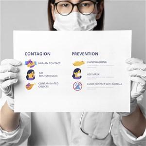 医护人员手拿新冠肺炎宣防护传单贴图样机