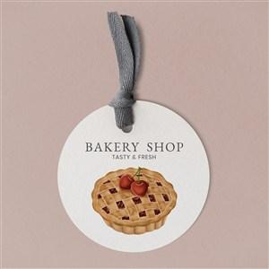 手绘樱桃派甜品店标签贴图样机