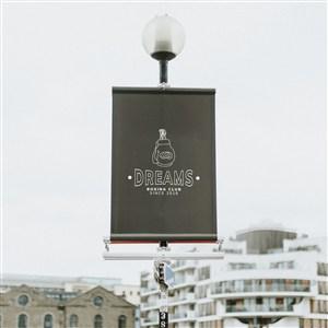 拳击俱乐部户外立杆广告贴图样机
