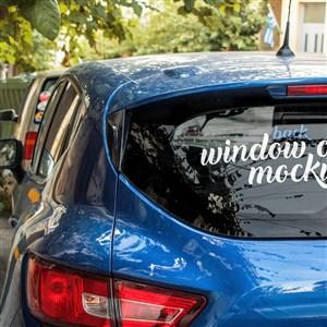 蓝色小汽车车身广告贴图样机