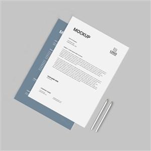 灰色企业办公用品vi文档贴图样机