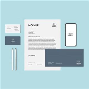 灰色企业办公用品vi手机名片文档贴图样机