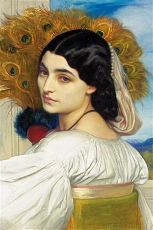 孔雀尾巴發飾女人歐洲宮廷人物油畫圖片