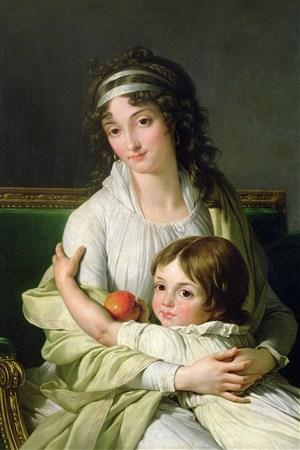 抱著孩子的女人歐洲宮廷人物油畫圖片