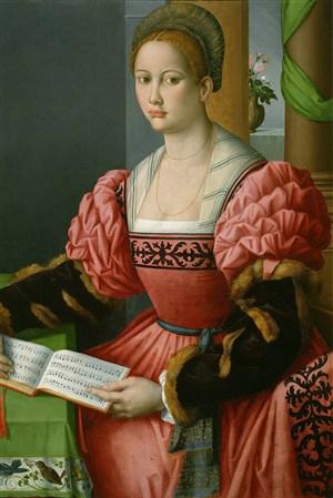 學音樂的貴婦歐洲宮廷人物油畫圖片