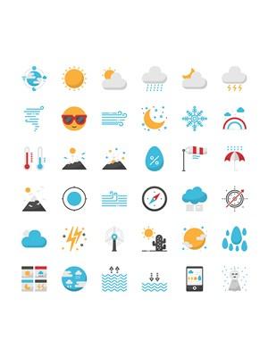天氣預報未來天氣彩色符號UI圖標