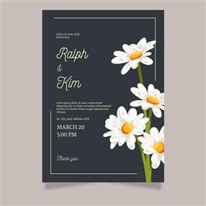 唯美小雏菊花朵邀请函背景底纹模板