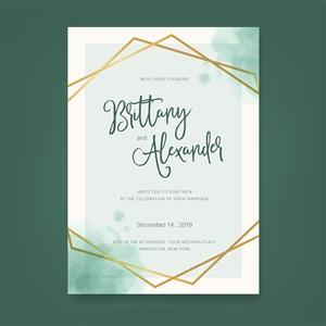 极简水彩苍绿婚礼邀请函背景底纹矢量模板