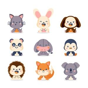 卡通可愛兔子狗熊貓企鵝獅子狐貍考拉矢量動物圖