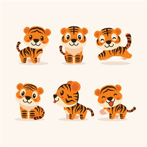 可爱不同姿态的小狮子矢量动物图
