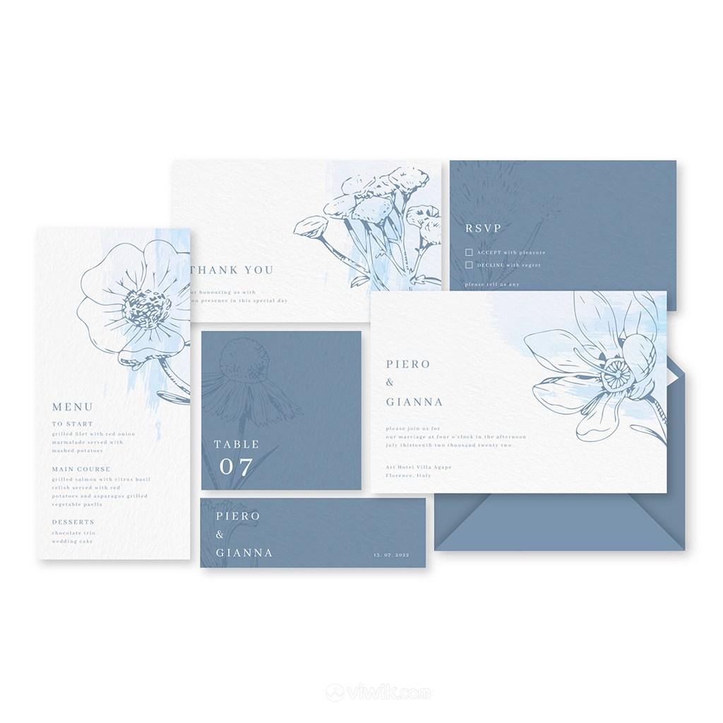 淡雅水彩藍色線描花卉邀請函背景底紋模板