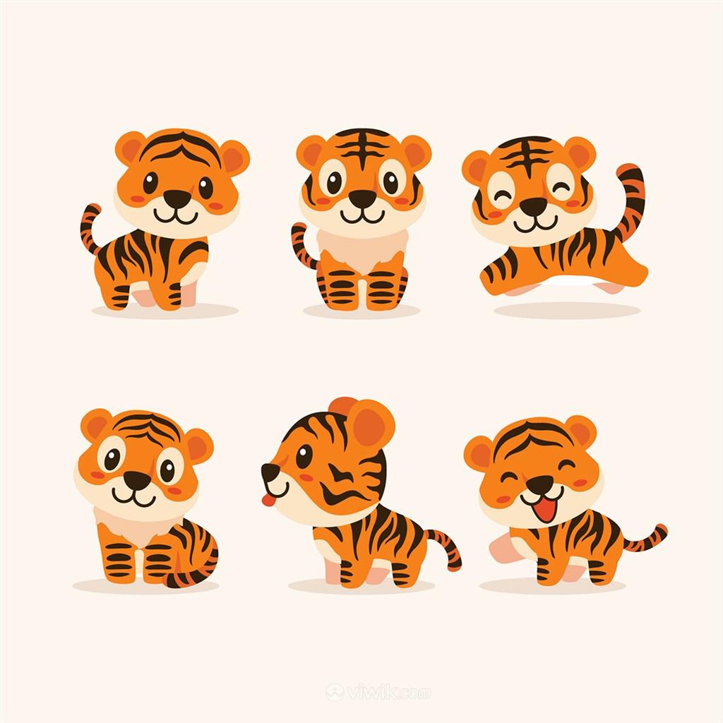 可愛不同姿態的小獅子矢量動物圖