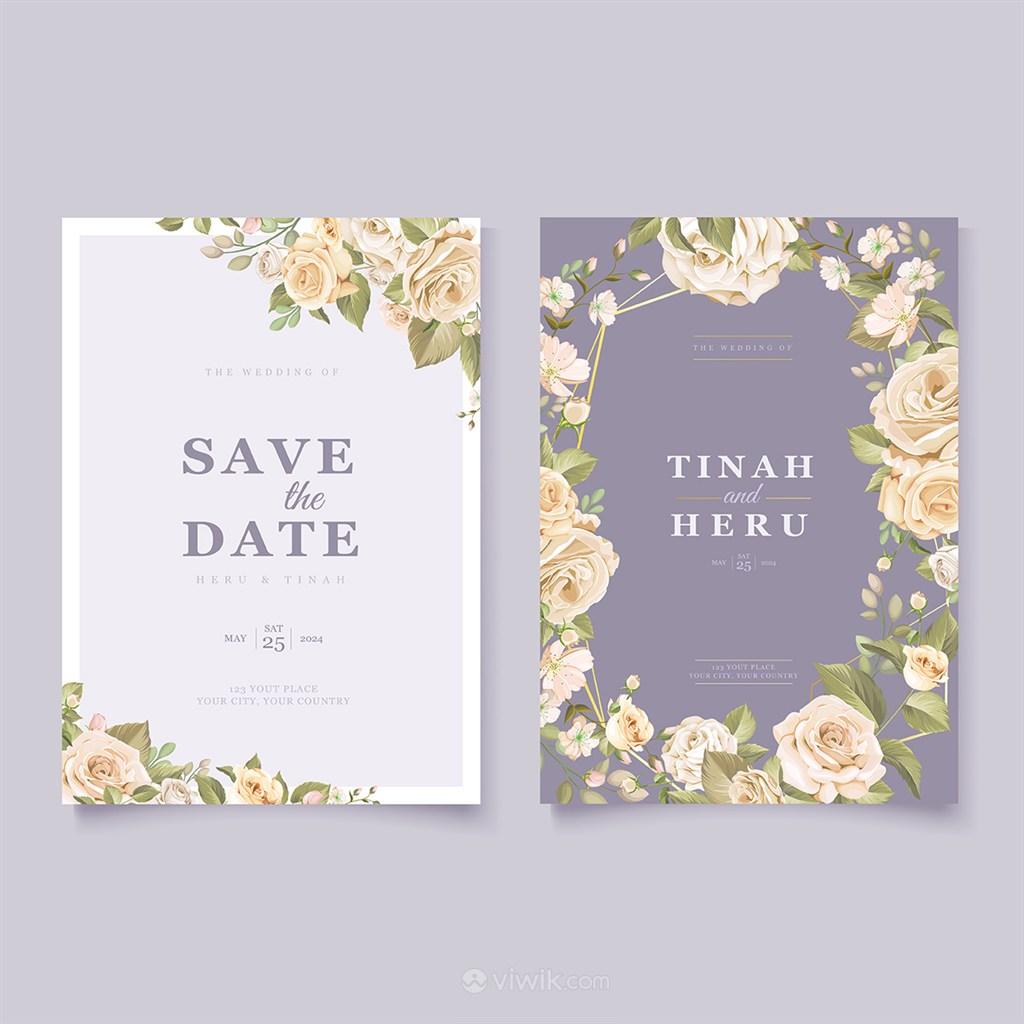 浪漫玫瑰花卉婚礼邀请函背景底纹矢量模板