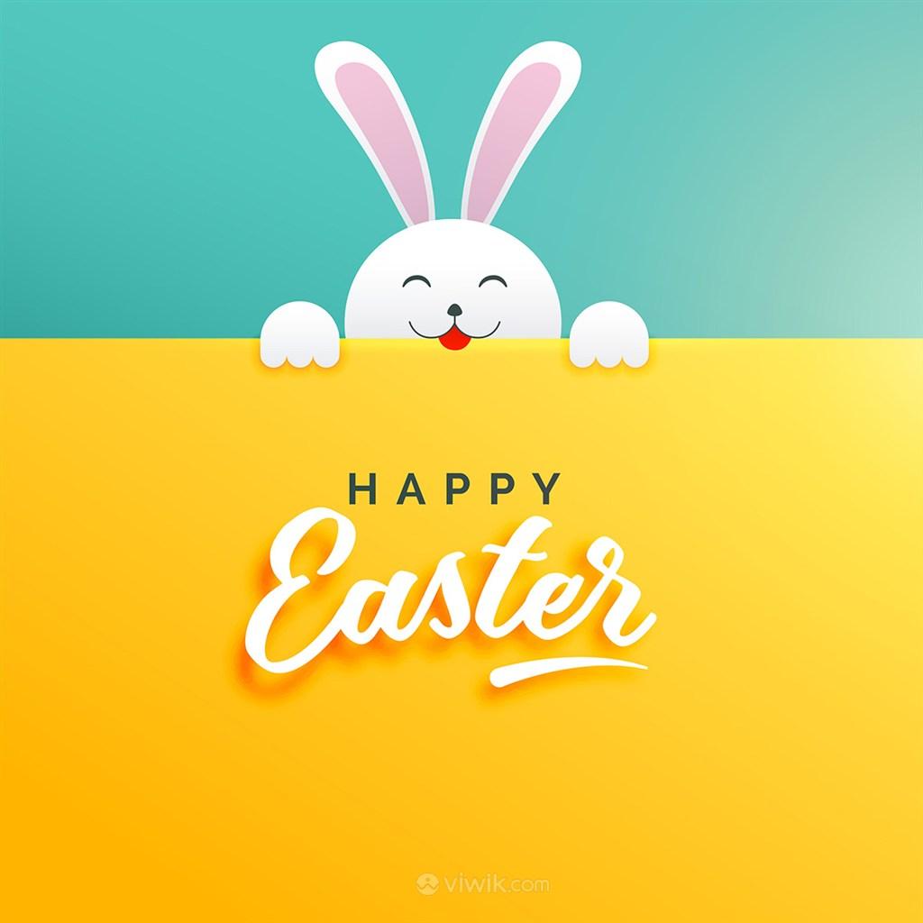 超萌小白兔复活节节日促销海报模板