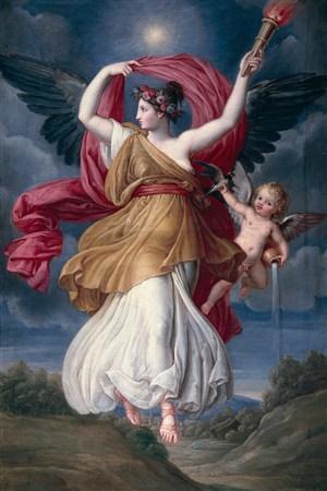 月光下行走的天使超高清人物油畫作品圖片