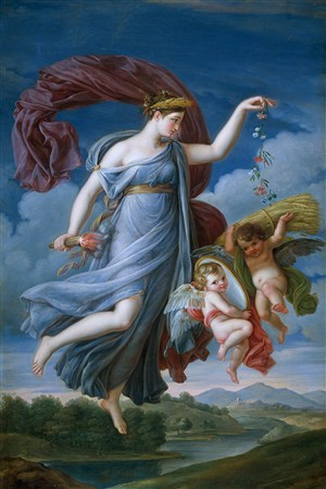 藍天下飛起來的天使和寶寶超高清人物油畫作品圖片