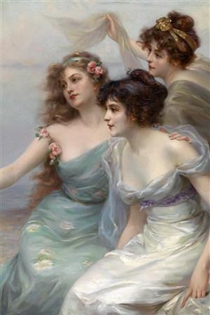 三位嫩白性感美女超高清人物油畫作品圖片