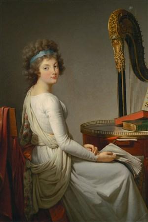 坐在豎琴旁的美女超寫實人物油畫藝術圖片