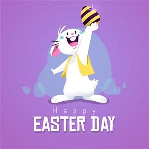 可爱白兔手举复活节彩蛋节日庆祝海报素材