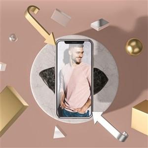 3D金属包围的手机贴图样机