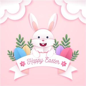 可爱白兔复活节节日海报模板