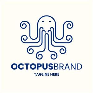 手绘章鱼图标海鲜餐厅矢量logo