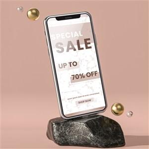 斜放在石块上的手机贴图样机