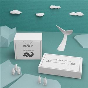 鱼尾模型白色方形纸盒贴图样机
